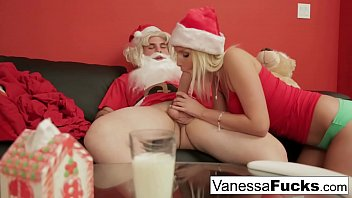 Vanessa Cage letting Santa violate her tight wet pussy