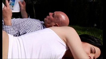 Daniela Rose takes old man Hugo's whole load