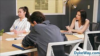 Lesbian milf wears butt- plugduring a work meeting