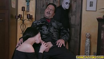 Morticia addams nude Busty milf takes in a long massive cock sucking it deep down her throat before getting her pussy eaten