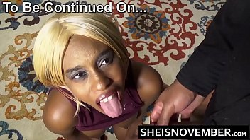 HD Redbone African American Msnovember On Knees Sucking Big Cock Holding Her Huge Natural Boobies And Hard Nipples Taking Cumshot On Her Mouth Dripping Down To Her Chest Sheisnovember
