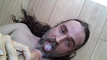 gringo gregory stroking cock shooting hot cum on lips in mouth down throat dirty sluty american whore