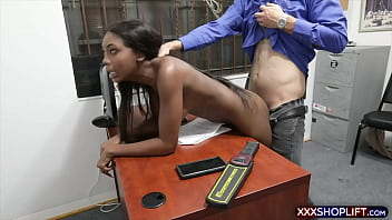 Cute ebony shoplifter chick disciplined hard