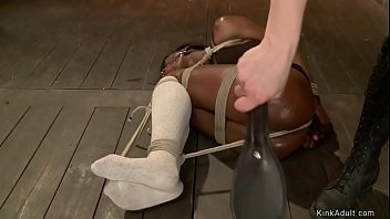Bound and anal hooked ebony is spanked