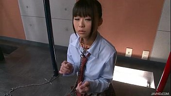 Japanese Schoolgirl Chika Is On Her Knees Chained To A Pole And To D.