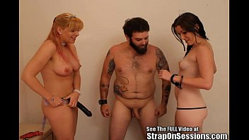 Bruce pegged by 2 femdoms Ms. Dixie and the StrapOnPrincess