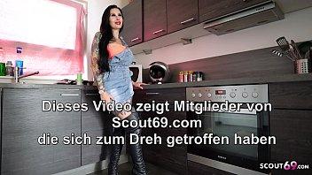 German Girlfriend let him Fuck in kitchen and Swallow Sperm
