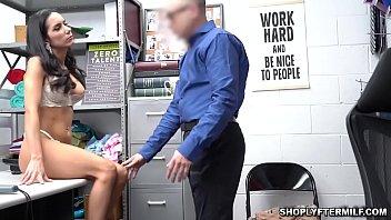 Sexy brunette milf spreadeagle fucked inside the LP officers office