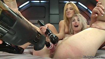 Lesbian squirters banging machines