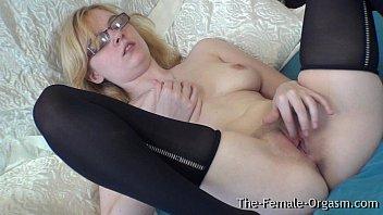 Glass vagina Pure finger rubbing masturbating coed with nice tits