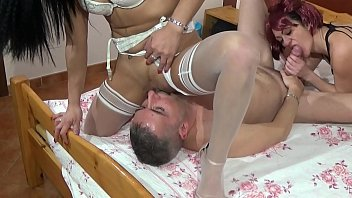 Two beautiful sluts play with a nice cock