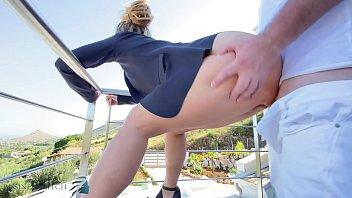 stranger fucks business woman on balcony, business bitch 8 min