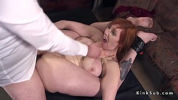 Man tied gets rough hand job - Busty chubby slave rough fucked