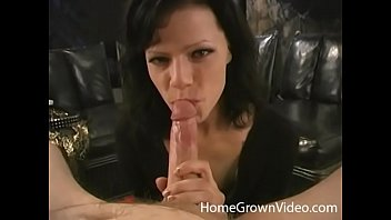 Slutty amateur with big tits sucking a hard cock