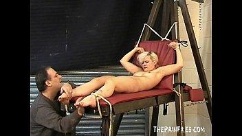 Foot fetish and extreme bastinado foot bondage of toe tortured sexy blonde bdsm