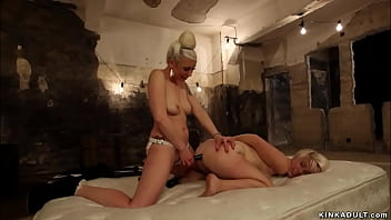 Blonde lesbian whipped and anal fucked