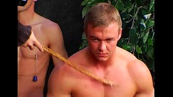 Playgirl bends over for flogging