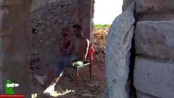 A voyeur and a couple sucking in the abandoned house. SAN134