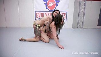 Jenevieve Hexxx vs Juliette March in rough lesbian wrestling fight