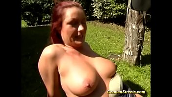 chubby german redhead picked up for threesome