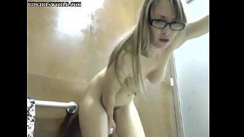 Teens in bathrooms - Horny blonde fucks her dildo in a public bathroom - vipgirlsworld.com