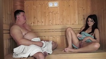 Old man fucks Young girl at Sauna