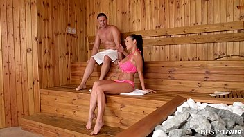 Busty lovers get to watch Patty Michova cum during hardcore sauna fuck