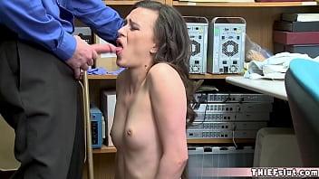 A pretty brunette shoplifter gets a surprise blowjob