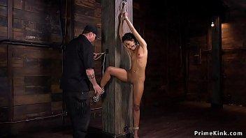 Whipped and zippered ebony slave