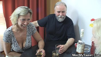 Mature couple threesome with teen
