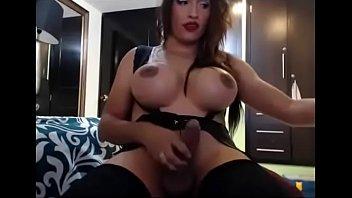 Bimbo tranny with huge cock masturbates on cam