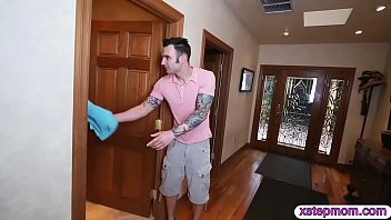 Stepson fucked his stepmom and tight gf in the bedroom