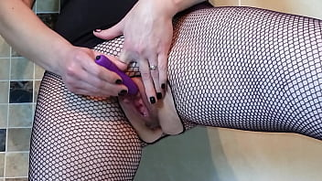 Squirting in my fishnets as i cum four times