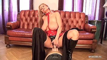 Latex sybian Huge tits milf veronica gold in latex lingerie ride on electric big sybian