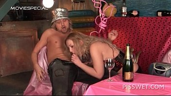 Blonde tramp giving blowjob gets mouth piss filled