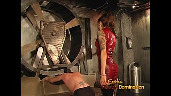 Stunning brunette hussy has her boots licked before whipping her man