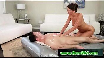 Sexy masseuse Olivia Lua sucks cock during nuru massage