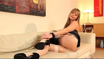 Czech blonde babe in nylons undressing
