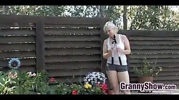 Granny wants cock 2 - Granny has sex with a young guy in the shade