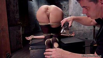 Tied trainee takes huge dick