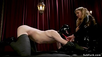 Huge tits mistress gives footjob