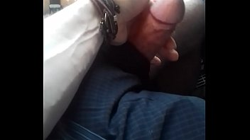 Wanking my buddy's cock on the bus.