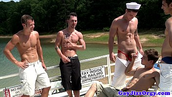 Gay boat orgy Blaze and pals oral orgy on a boat