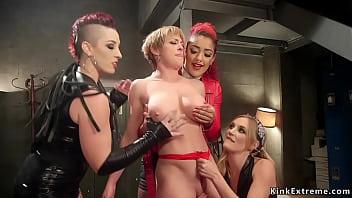 Huge tits Milf dp fucked by three lesbians