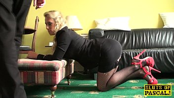Blonde lingerie submission Submissive blonde bends over