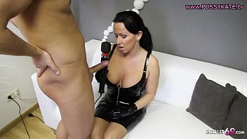 Femdom Blow and Handjob from German MILF Latex Domina Mom