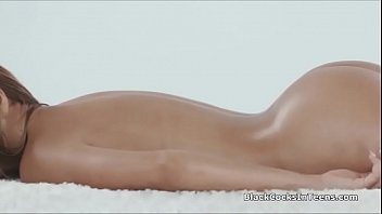Oiled exotic beauty pounded by masseurs BBC