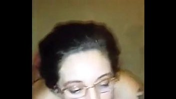 Nerd girl takes a crazy huge load of cum on face