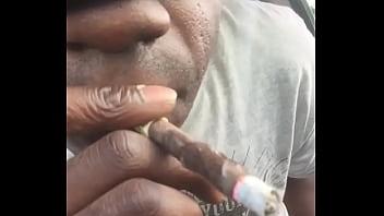 Ebony smoking cumshot nutt in black from freaky nasty thug gangsta