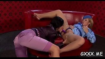 Alluring lesbian playgirl gets fucked hard with a large strap on